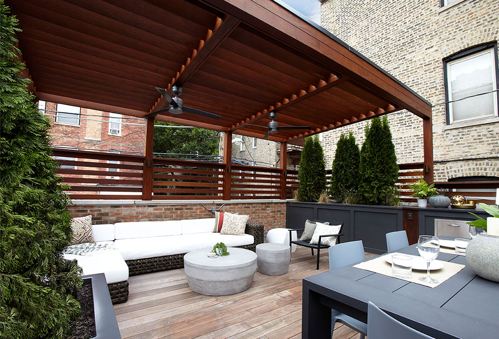 Ipe Pergola By The Park Chicago Roof Deck Garden
