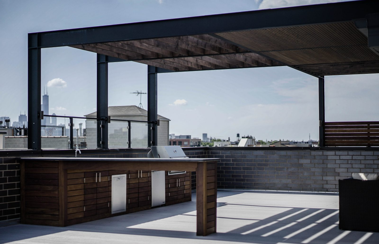 Steel Shade Structure Chicago Roof Deck Garden
