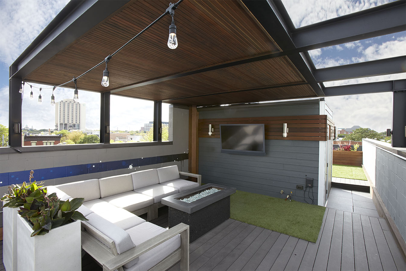 Steel shade structure chicago roof deck garden for Steel shade structure design